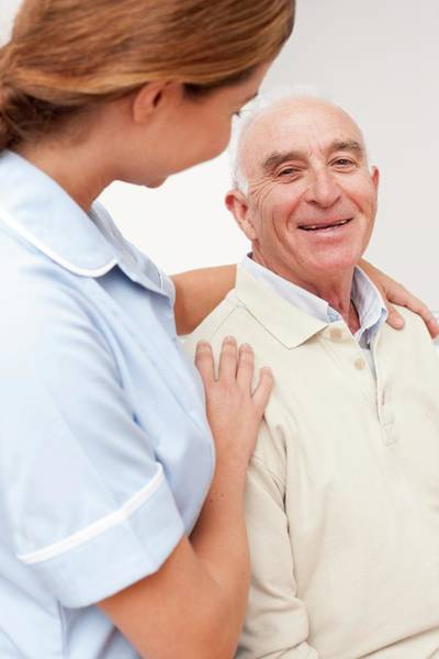 Wall Art - Photograph - Nurse With Senior Male Patient by Science Photo Library