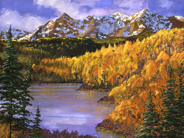 Mountain Lake Painting - October Colors by David Lloyd Glover
