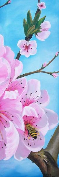 Painting - #2 Of Diptych Peach Tree In Bloom by Sharon Duguay