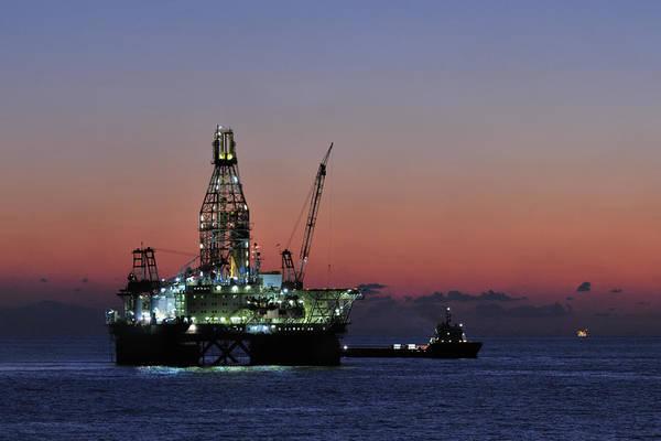 Photograph - Oil Rig And Ship At Dawn by Bradford Martin