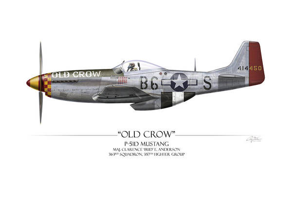 Air War Painting - Old Crow P-51 Mustang - White Background by Craig Tinder