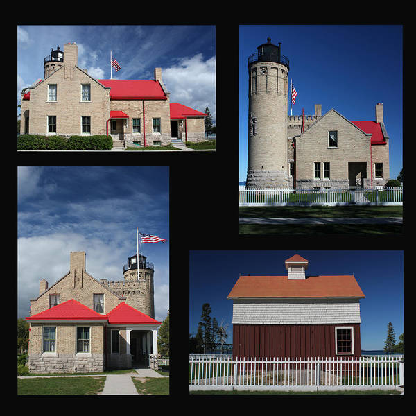 Michilimackinac Wall Art - Photograph - Old Mackinac Point Lighthouse Collage by Mary Bedy