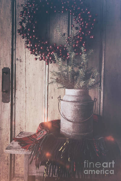 Photograph - Old Milk Bucket With Pine Tree And Plaid Blanket On Bench by Sandra Cunningham
