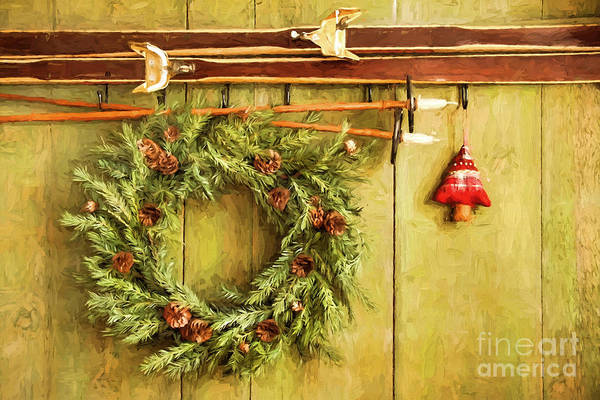Photograph - Pair Of Skis Hanging With Wreath Against Green/ Digital Painting by Sandra Cunningham