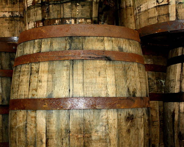 Whiskey Hill Wall Art - Photograph - Old Wood Whiskey Barrels by Terry Fleckney