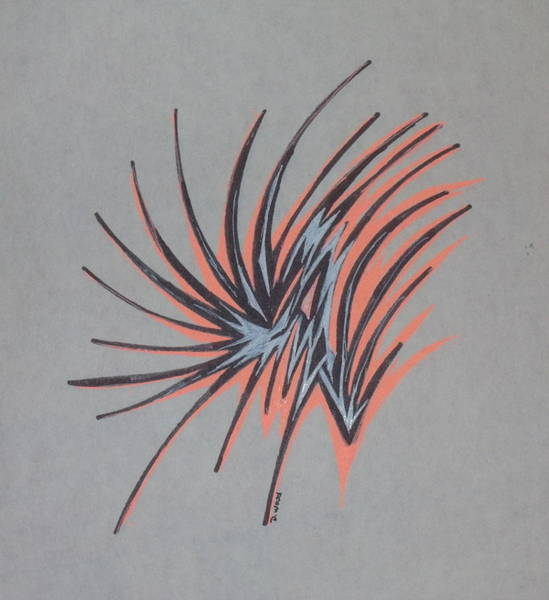 Organic Abstraction Drawing - Orange Burst by D Wood