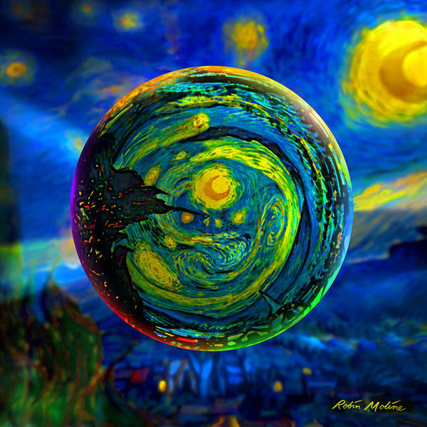 Scene Digital Art - Orbiting A Starry Night  by Robin Moline