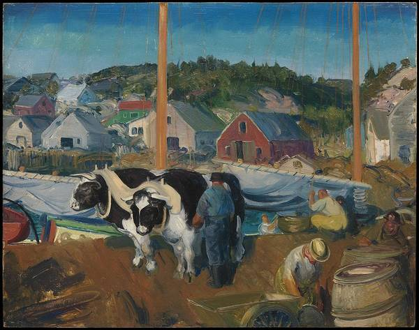 Central America Painting - Ox Team, Wharf At Matinicus by George Bellows