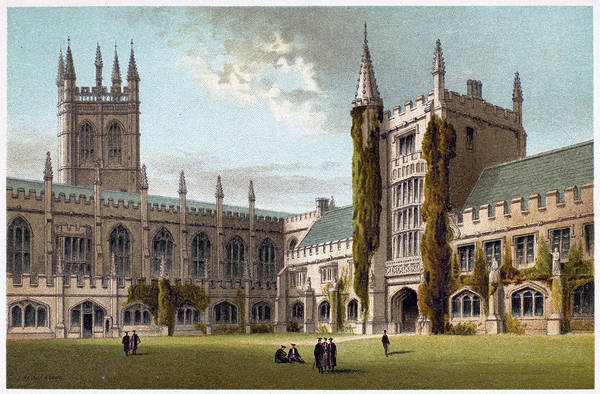 College Campus Painting - Oxford Magdalen College by Granger