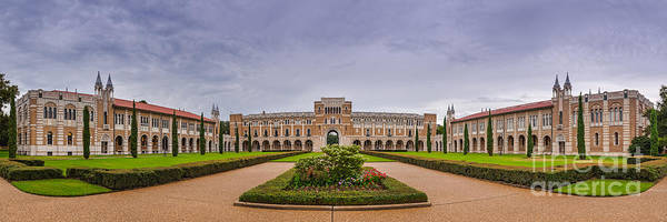 Rice Photograph - Panorama Of Rice University Academic Quad - Houston Texas by Silvio Ligutti