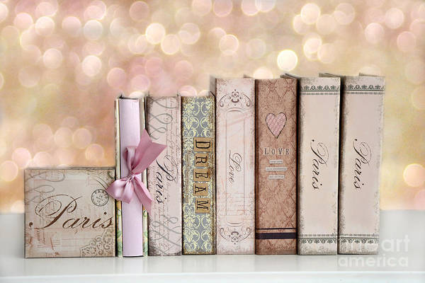Paris Dreamy Shabby Chic Romantic Pink Cottage Books Love Dreams Paris Collection Pastel Books Art Print