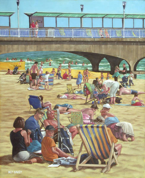 Painting - people on Bournemouth beach by Martin Davey