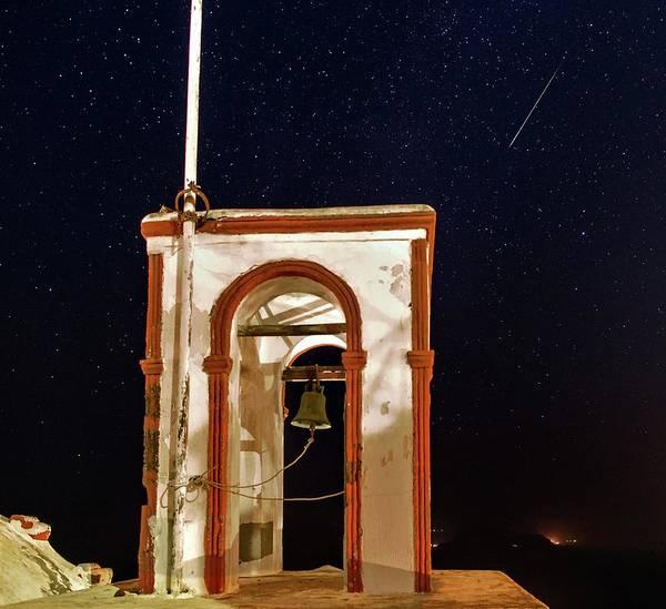 Perseid Wall Art - Photograph - Perseid Meteor Track Over Santorini by Babak Tafreshi