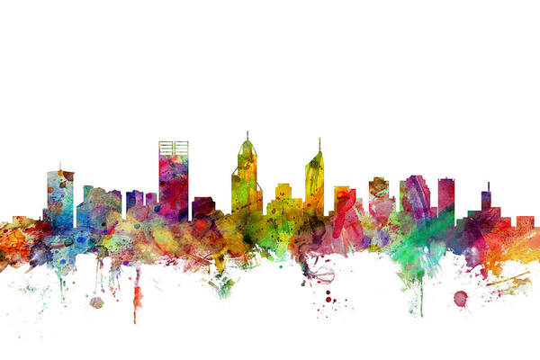 Flag Digital Art - Perth Australia Skyline by Michael Tompsett