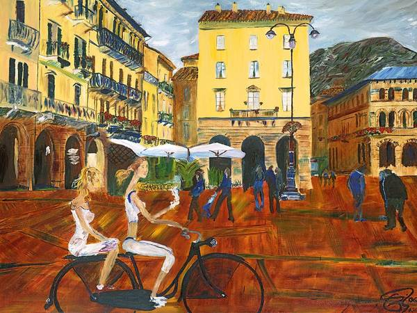 Lake Como Painting - Piazza De Como by Gregory Allen Page