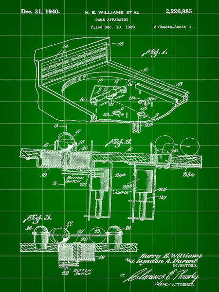 Pinball Digital Art - Pinball Machine Patent 1939 - Green by Stephen Younts