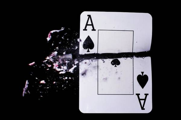 Bullets Photograph - Playing Card Trick Shot by Herra Kuulapaa � Precires