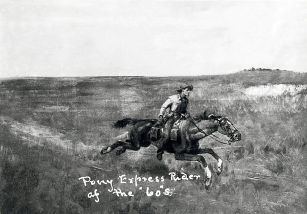 Wall Art - Photograph - Pony Express Rider by Underwood Archives