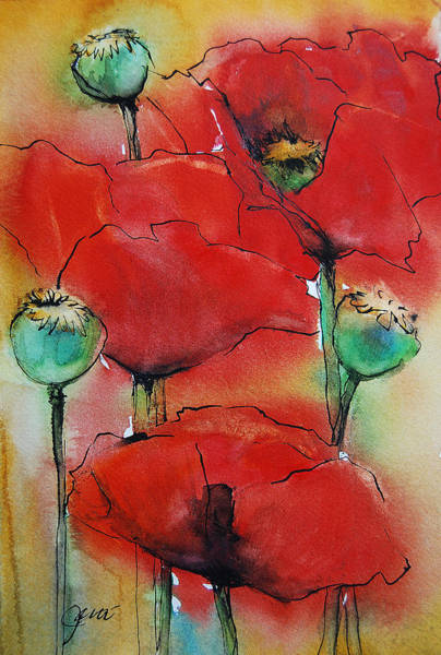 Painting - Poppies I by Jani Freimann