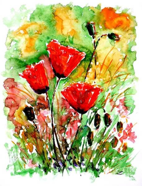 Painting - Poppy Lawn by Zaira Dzhaubaeva