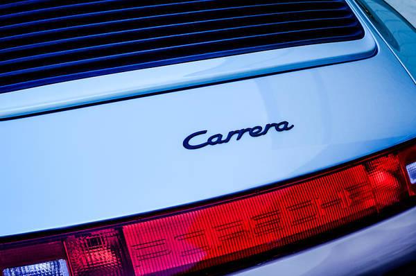 Taillight Photograph - Porsche Carrera Taillight Emblem by Jill Reger