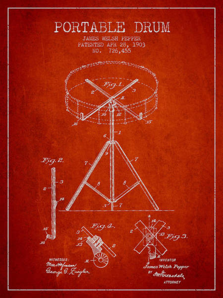 Country Living Digital Art - Portable Drum Patent Drawing From 1903 - Red by Aged Pixel