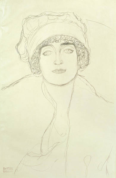 Beautiful Girl Drawing - Portrait Of A Young Woman by Gustav Klimt
