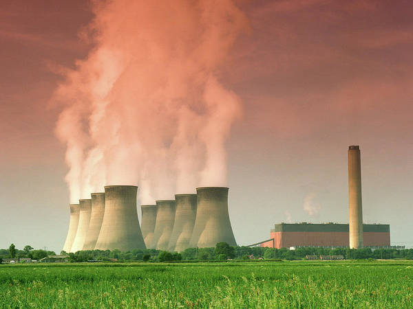 Carbon Wall Art - Photograph - Power Station Cooling Towers by Steve Allen/science Photo Library
