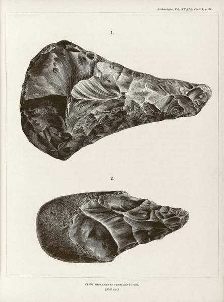 1863 Photograph - Prehistoric Stone Tools by Middle Temple Library