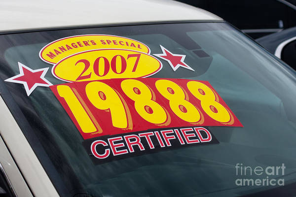 Photograph - Price Sticker On Used Car Lot by Gunter Nezhoda