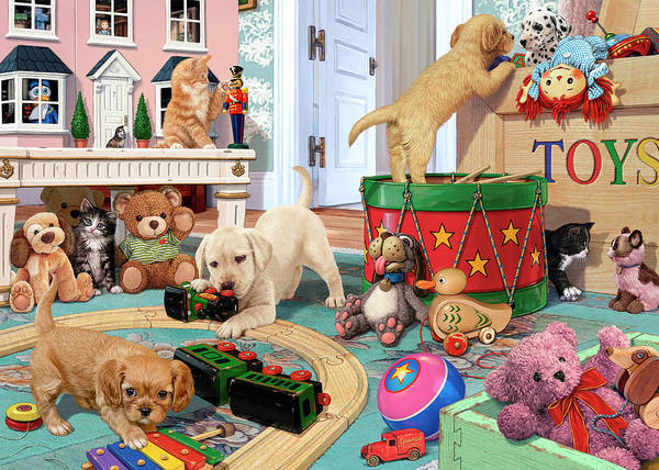 Wall Art - Painting - Puppies' Playtime by MGL Meiklejohn Graphics Licensing