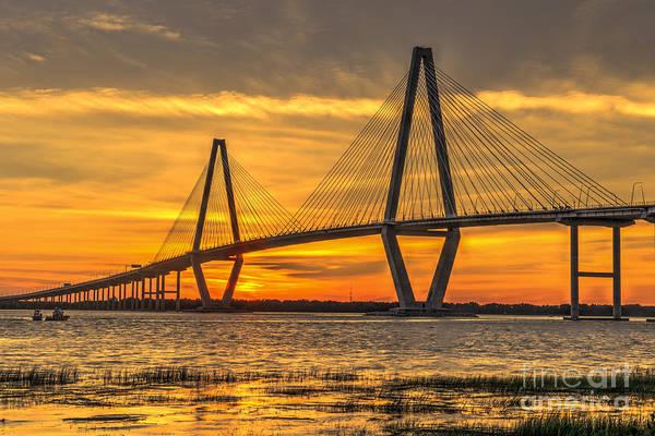 Photograph - Ravenel Bridge Sunset by Dale Powell