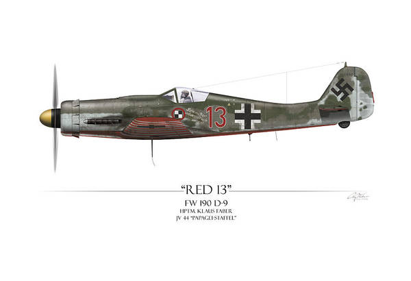Tank Painting - Red 13 Focke-wulf Fw 190d - White Background by Craig Tinder