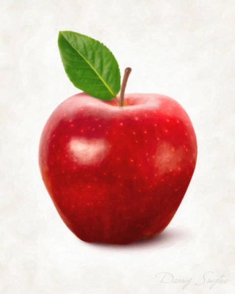 Wall Art - Painting - Red Apple by Danny Smythe