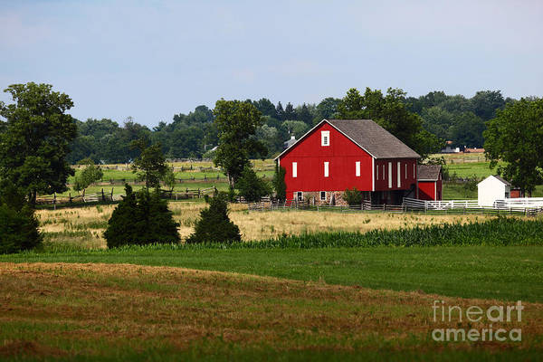 Gettysburg Battlefield Photograph - Red Barn Gettysburg by James Brunker