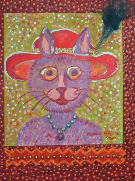 Painting - Red Hat Cat by Marlene Robbins