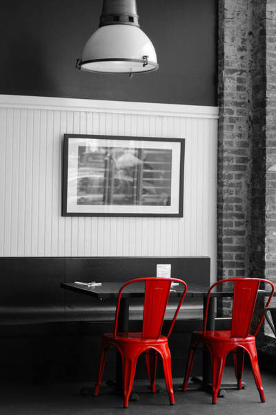 Photograph - 2 Red Metal Chairs by Paulette B Wright