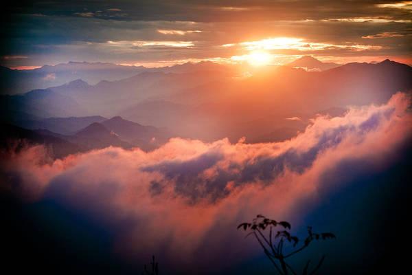 Red Sunset Himalayas Mountain Nepal Art Print
