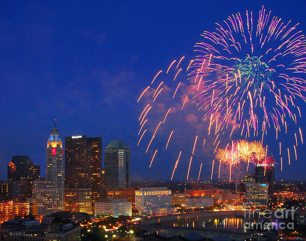 Photograph - D21l-10 Red White And Boom Fireworks Display In Columbus Ohio by Ohio Stock Photography