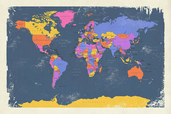 Distress Digital Art - Retro Political Map Of The World by Michael Tompsett