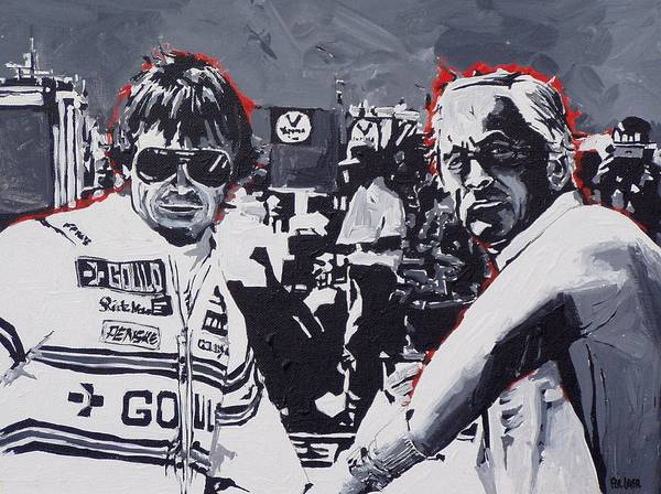 Wall Art - Painting - Rick Mears And Roger Penske At Indianapolis by Paul Guyer