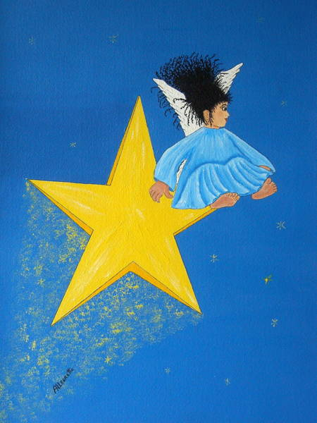 Cielo Wall Art - Painting - Ride A Shooting Star by Pamela Allegretto