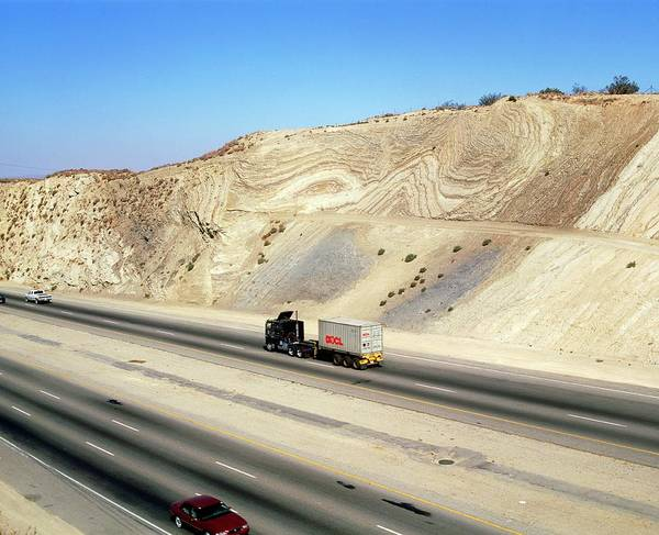 Wall Art - Photograph - Road Cutting Through The San Andreas Fault by Martin Bond/science Photo Library