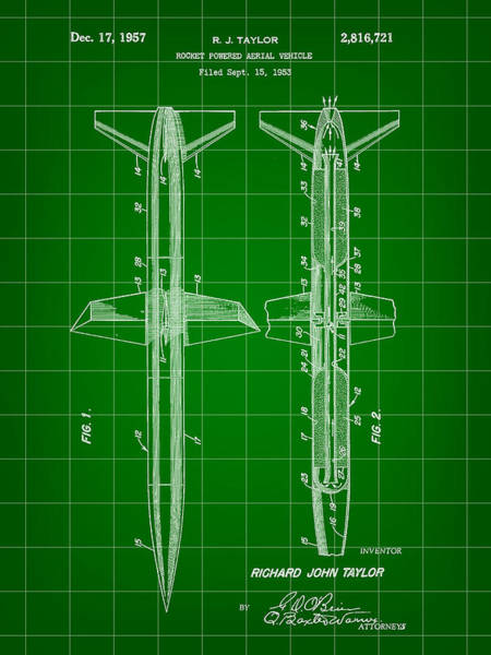 Weaponry Digital Art - Rocket Patent 1953 - Green by Stephen Younts