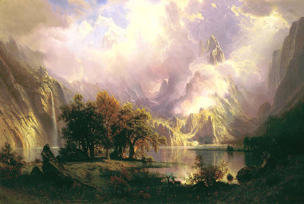Rockies Digital Art - Rocky Mountain Landscape by Albert Bierstadt