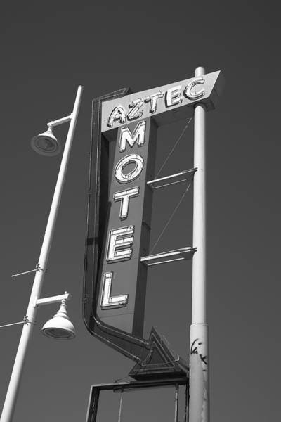 Photograph - Route 66 - Aztec Motel 2012 Bw by Frank Romeo