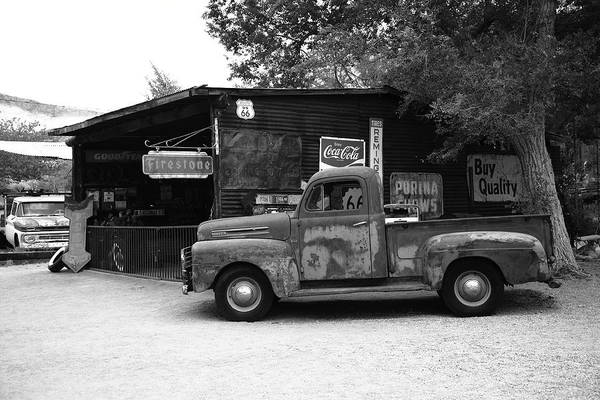 Photograph - Route 66 Garage And Pickup 2012 Bw by Frank Romeo