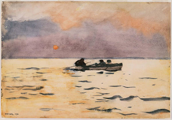 Rowing Wall Art - Painting - Rowing Home by Winslow Homer