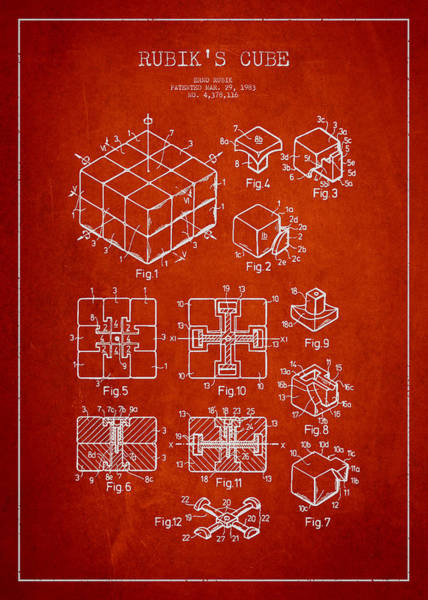 Puzzle Digital Art - Rubiks Cube Patent by Aged Pixel