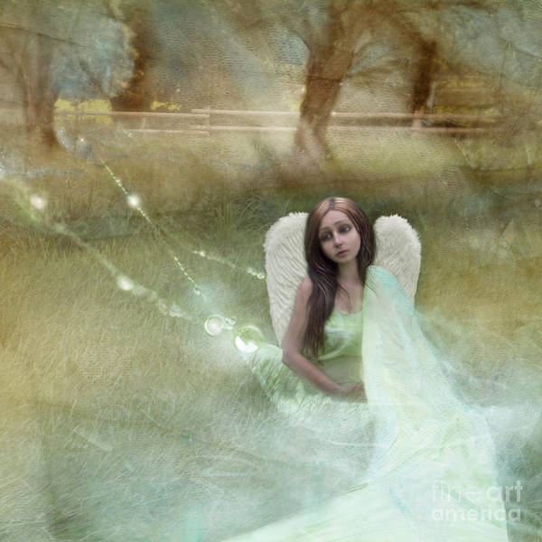 Orchard Digital Art - Sad Little Angel by Angel Ciesniarska